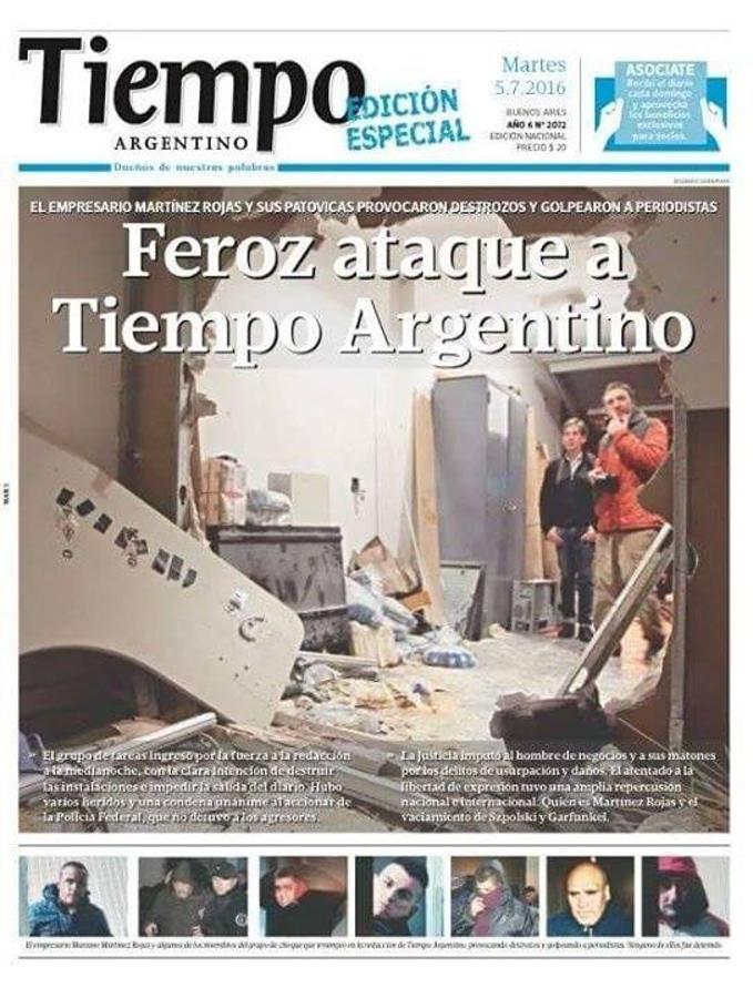 Tapa de Por Mas Tiempo, edición especial al día siguiente de los hechos de violencia
