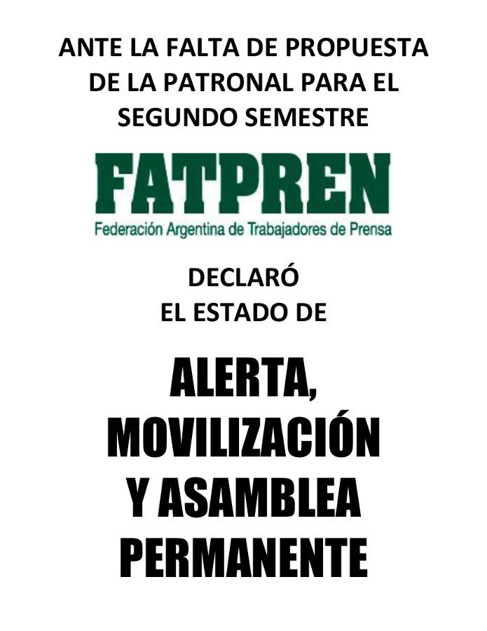Paritarias: La FATPREN declaró el estado de Alerta, Movilización y Asamblea Permanente