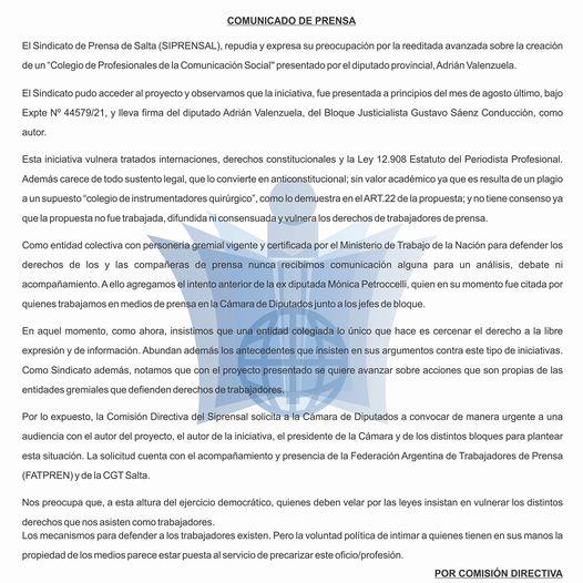 Salta: repudio a proyecto de colegiación de periodistas