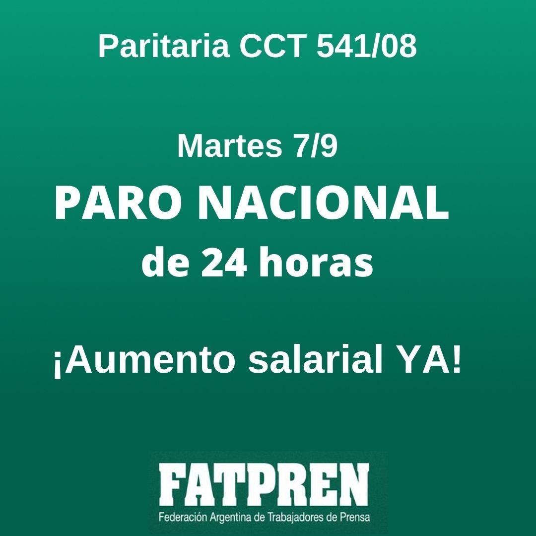 7/9: Paro nacional de 24 horas en prensa escrita por salarios