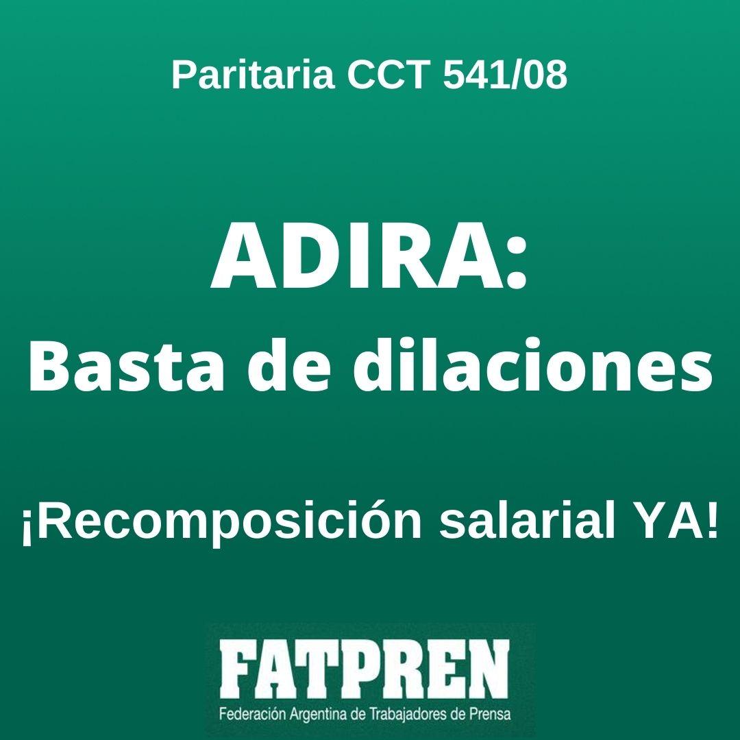 ADIRA demora una recomposición salarial a periodistas trabajadorxs de prensa